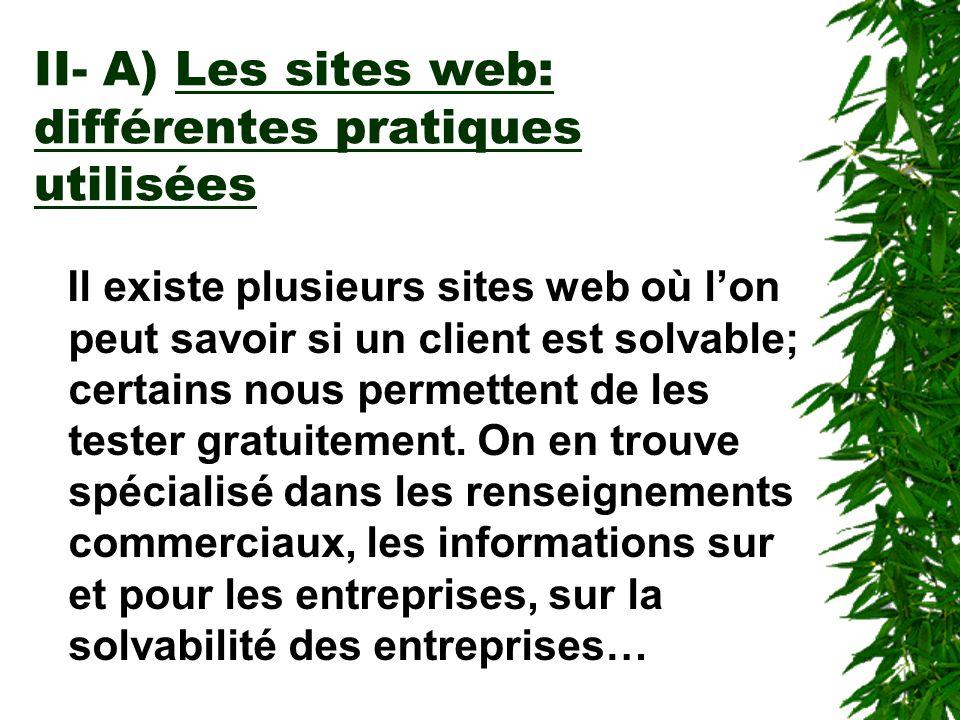 II- A) Les sites web: différentes pratiques utilisées