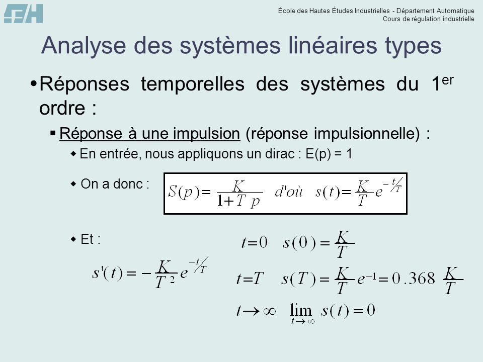 Analyse des systèmes linéaires types
