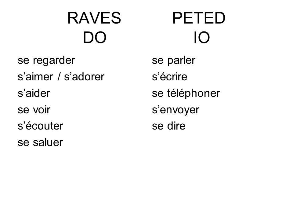 RAVES PETED DO IO se regarder s'aimer / s'adorer s'aider se voir