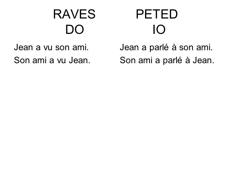 RAVES PETED DO IO Jean a vu son ami. Son ami a vu Jean.