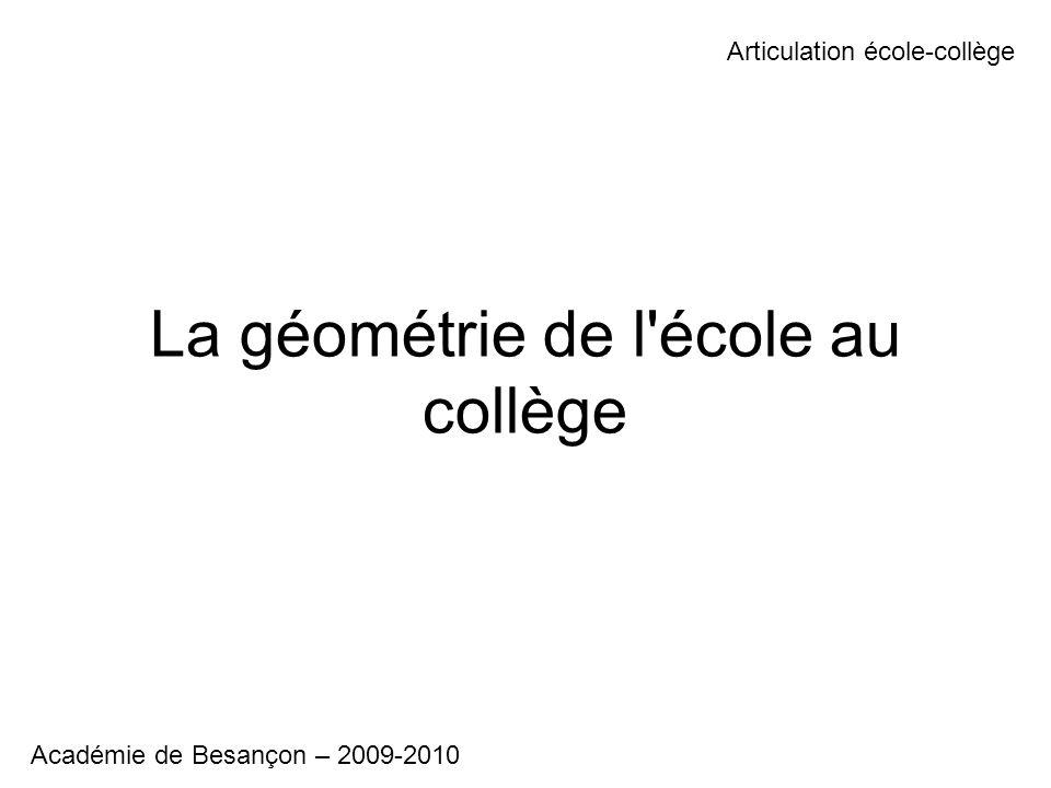 La géométrie de l école au collège