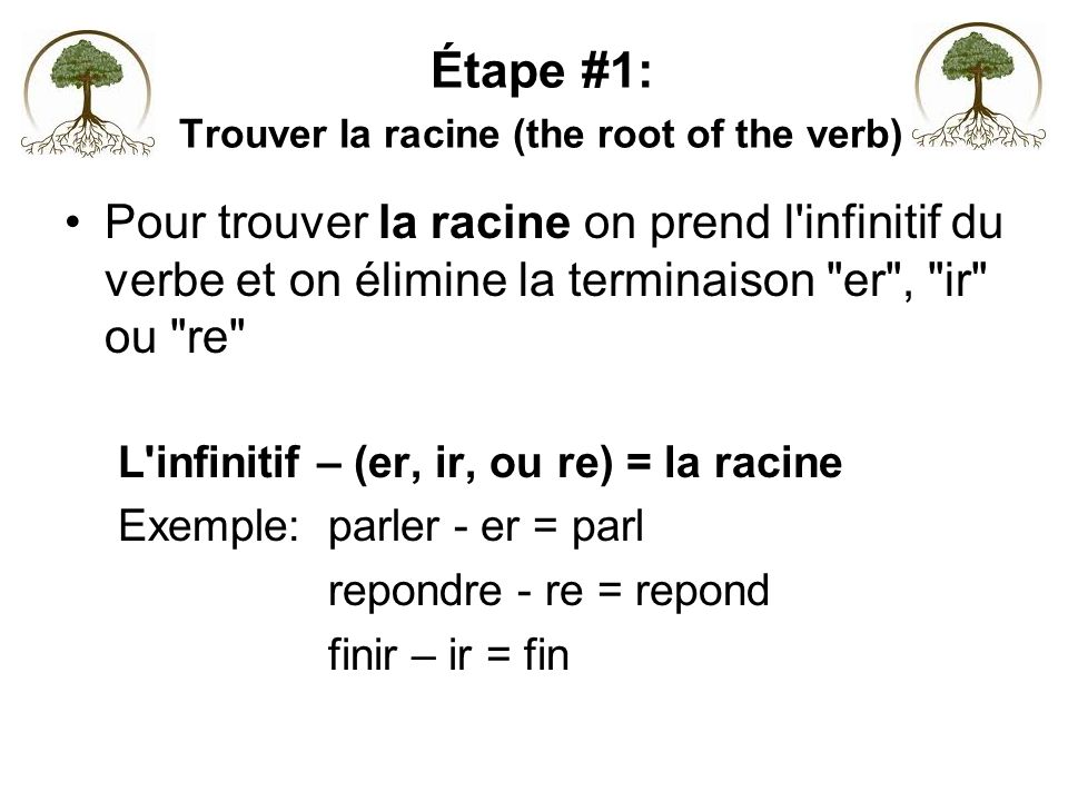 Étape #1: Trouver la racine (the root of the verb)