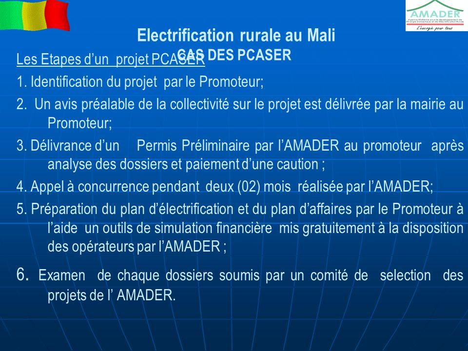 Electrification rurale au Mali CAS DES PCASER