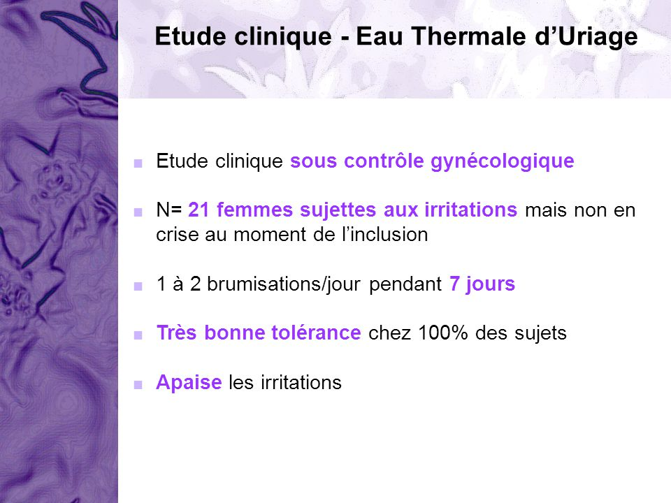 Etude clinique - Eau Thermale d'Uriage
