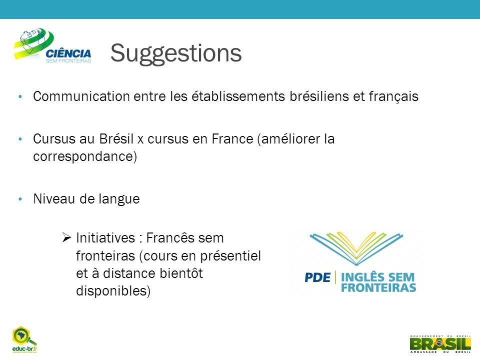 Suggestions Communication entre les établissements brésiliens et français. Cursus au Brésil x cursus en France (améliorer la correspondance)