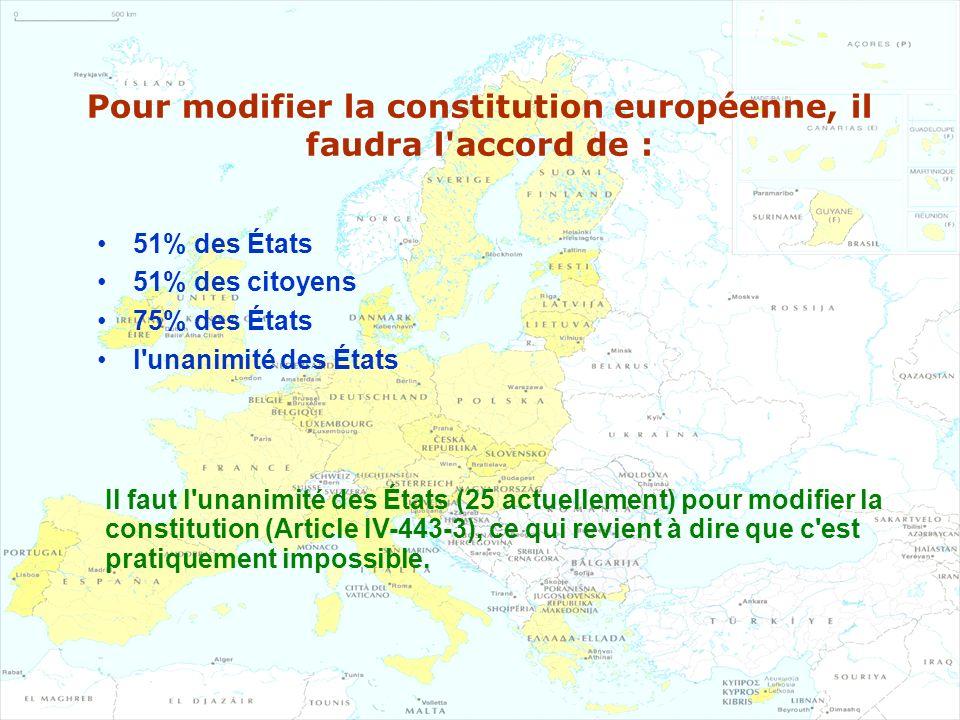 Pour modifier la constitution européenne, il faudra l accord de :