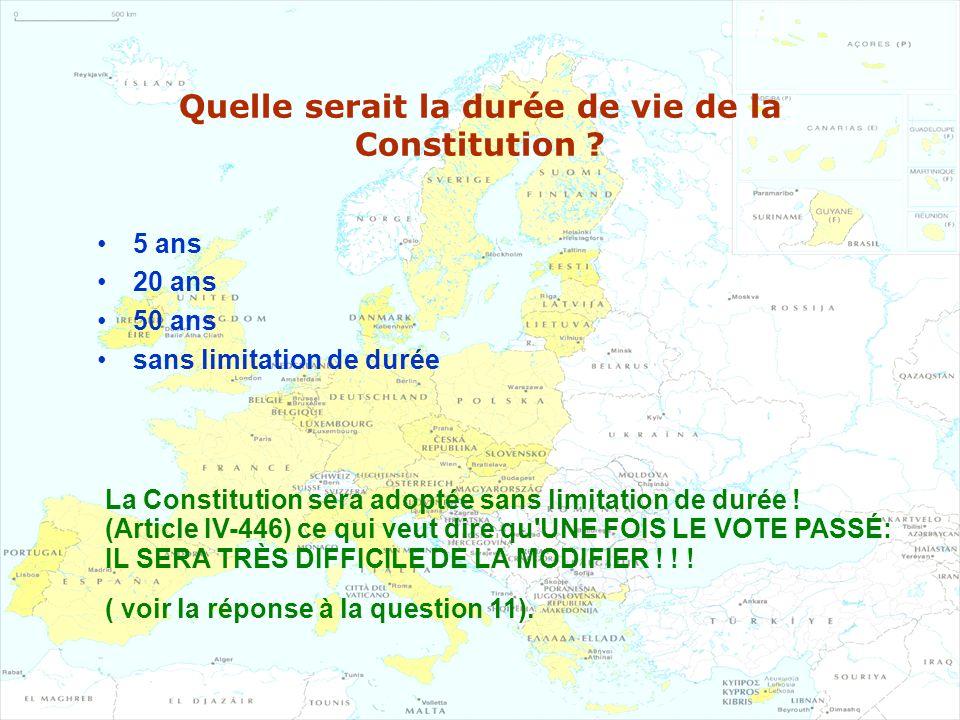 Quelle serait la durée de vie de la Constitution