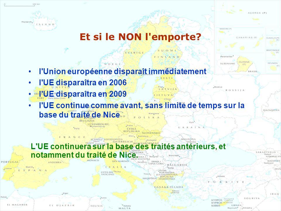 Et si le NON l emporte l Union européenne disparaît immédiatement