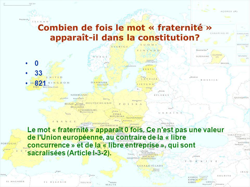 Combien de fois le mot « fraternité » apparaît-il dans la constitution