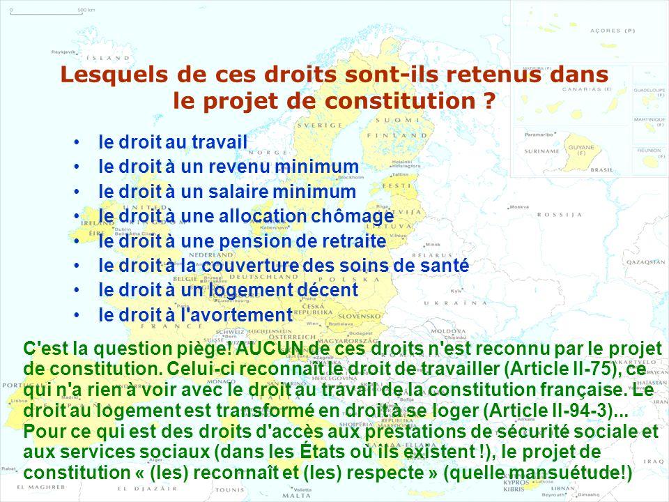 Lesquels de ces droits sont-ils retenus dans le projet de constitution