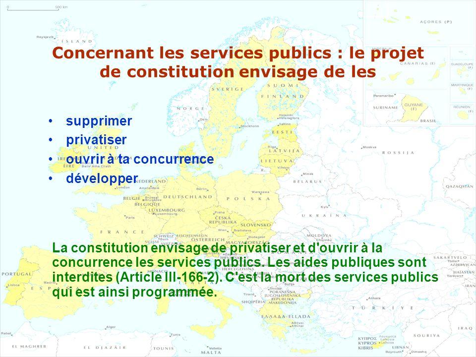 Concernant les services publics : le projet de constitution envisage de les