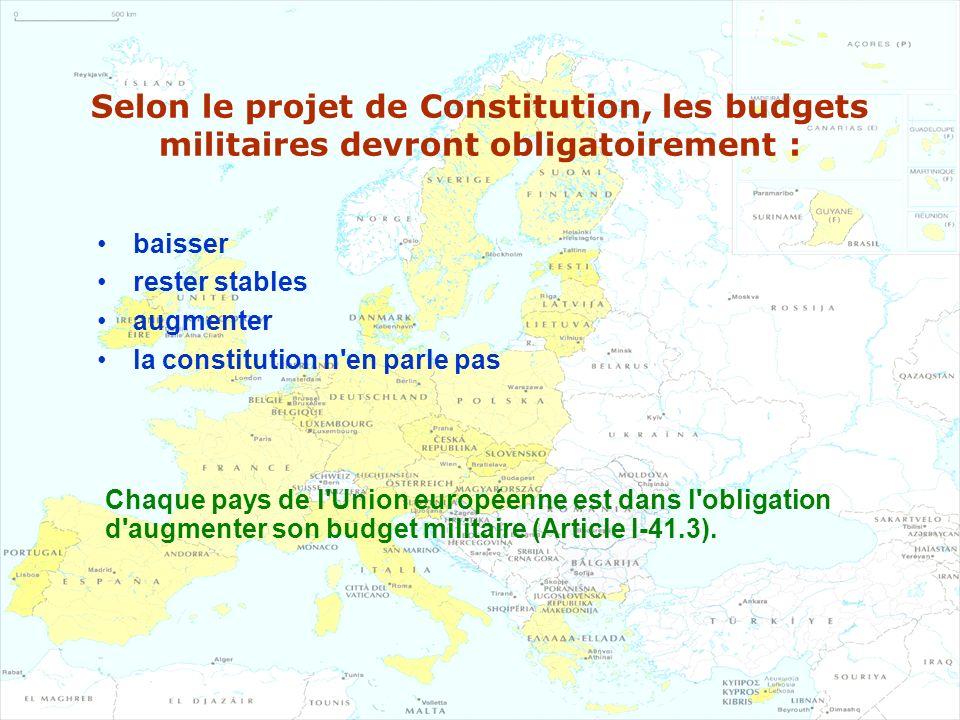 Selon le projet de Constitution, les budgets militaires devront obligatoirement :