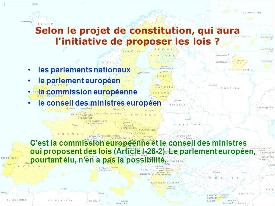 Selon le projet de constitution, qui aura l initiative de proposer les lois