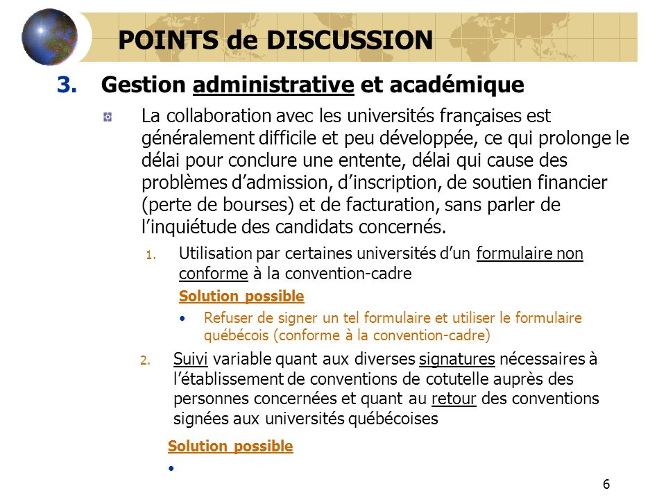POINTS de DISCUSSION Gestion administrative et académique