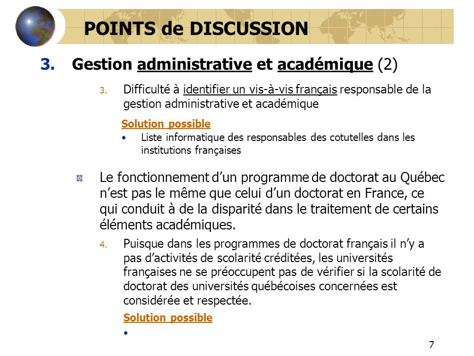 POINTS de DISCUSSION Gestion administrative et académique (2)