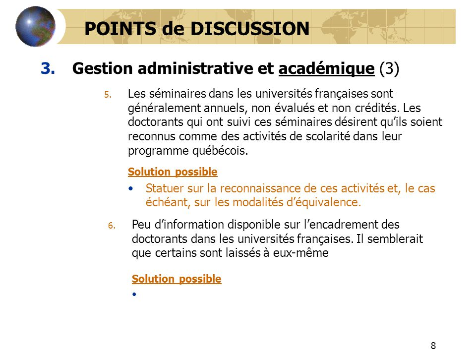 POINTS de DISCUSSION Gestion administrative et académique (3)