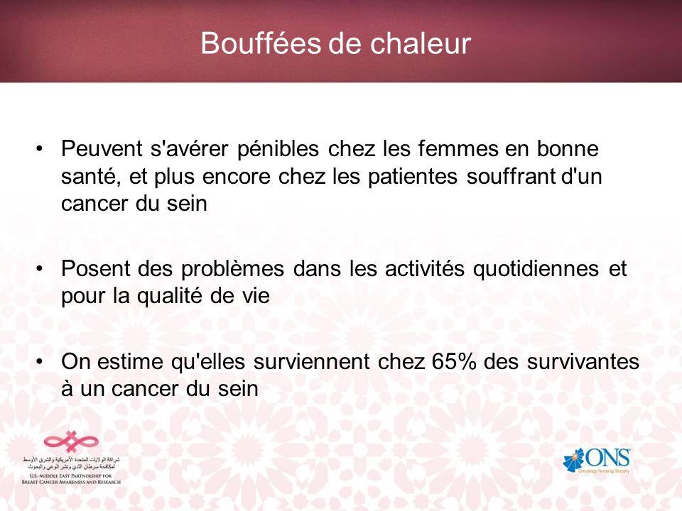 Bouffées de chaleur Peuvent s avérer pénibles chez les femmes en bonne santé, et plus encore chez les patientes souffrant d un cancer du sein.