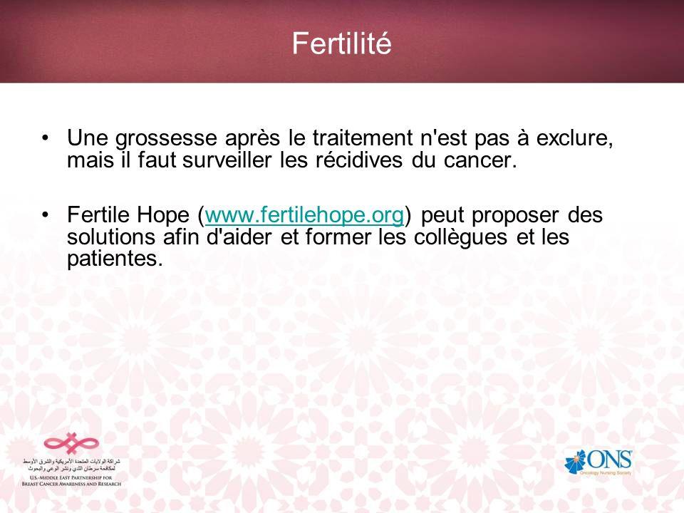 Fertilité Une grossesse après le traitement n est pas à exclure, mais il faut surveiller les récidives du cancer.
