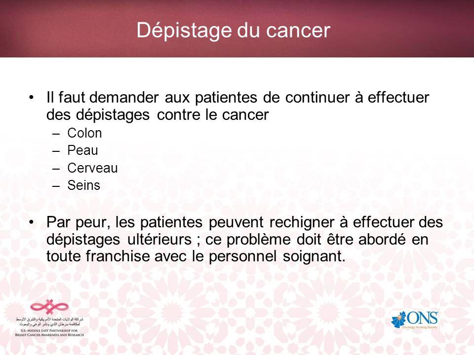 Dépistage du cancer Il faut demander aux patientes de continuer à effectuer des dépistages contre le cancer.