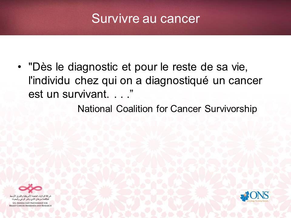 Survivre au cancer Dès le diagnostic et pour le reste de sa vie, l individu chez qui on a diagnostiqué un cancer est un survivant. . . .