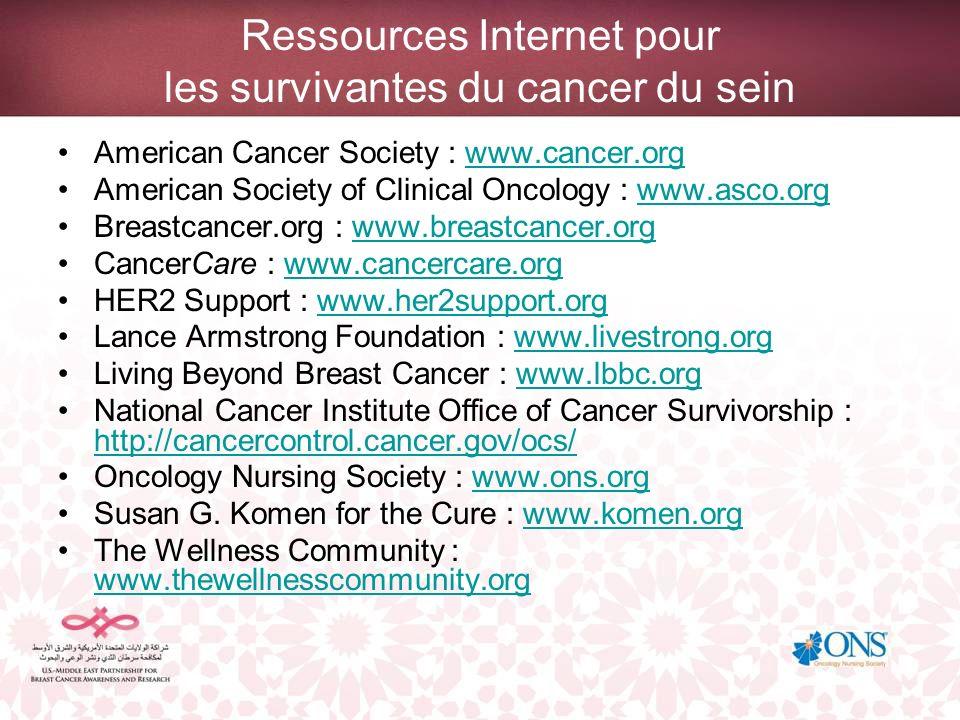 Ressources Internet pour les survivantes du cancer du sein