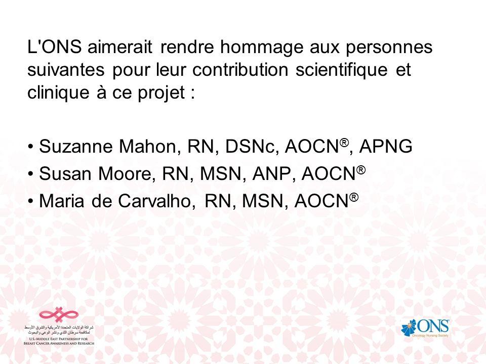 L ONS aimerait rendre hommage aux personnes suivantes pour leur contribution scientifique et clinique à ce projet :