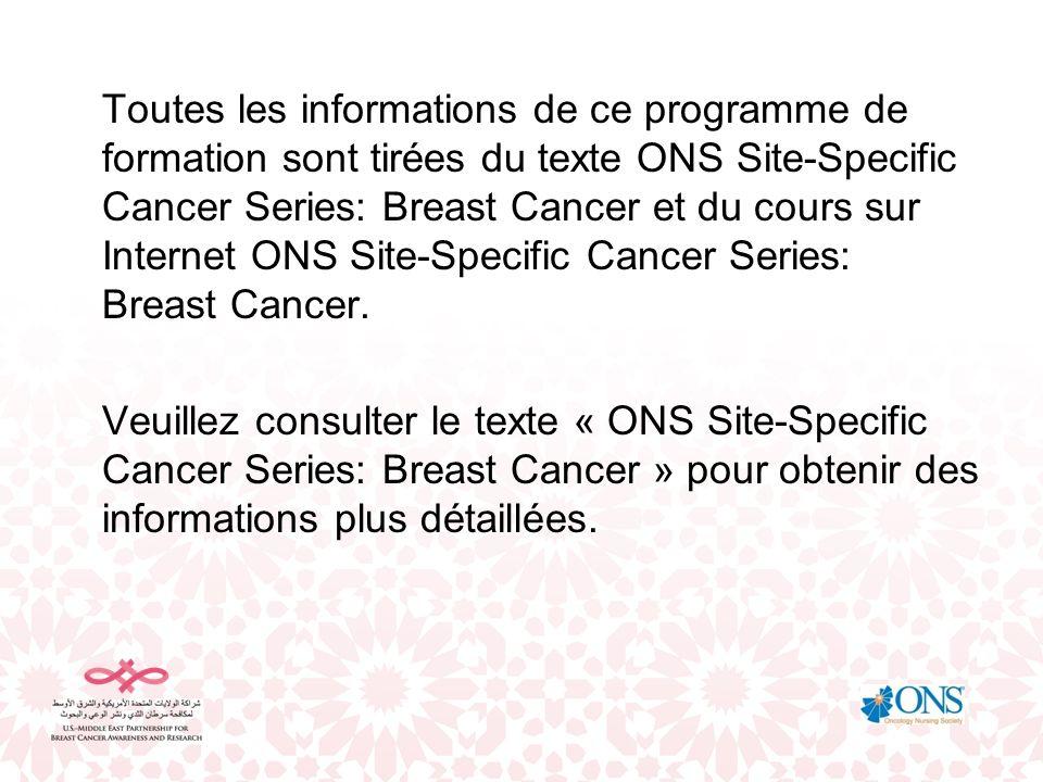 Toutes les informations de ce programme de formation sont tirées du texte ONS Site-Specific Cancer Series: Breast Cancer et du cours sur Internet ONS Site-Specific Cancer Series: Breast Cancer.