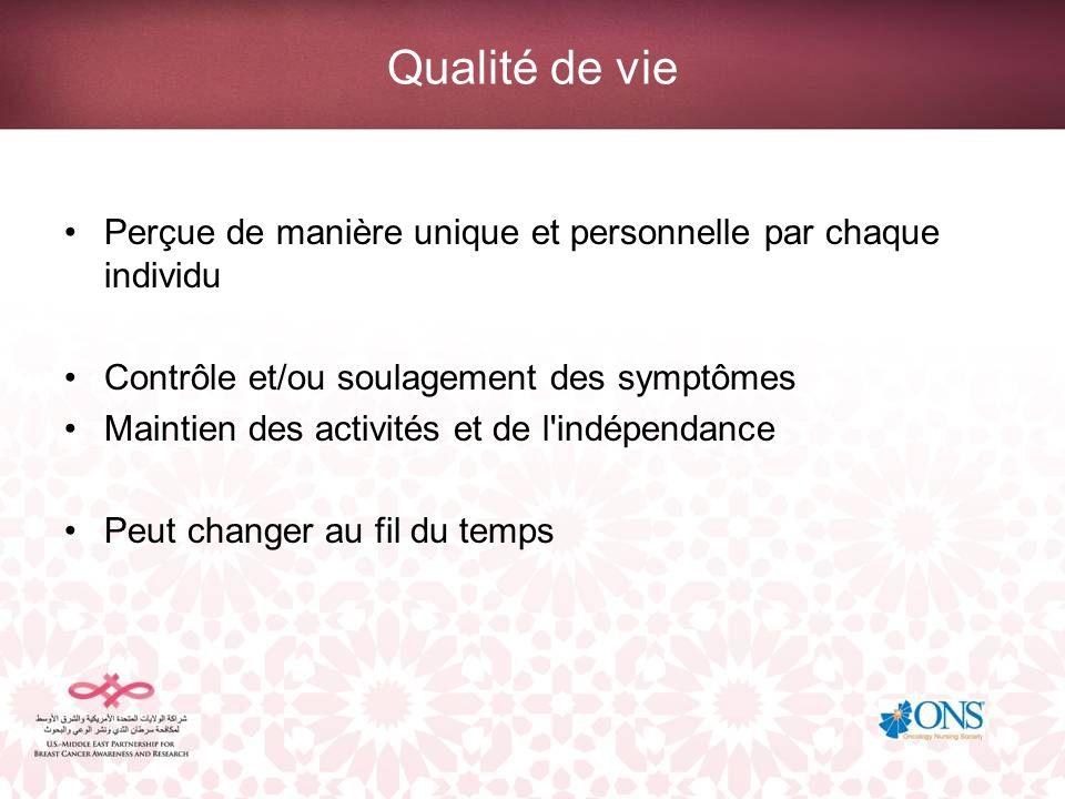 Qualité de vie Perçue de manière unique et personnelle par chaque individu. Contrôle et/ou soulagement des symptômes.