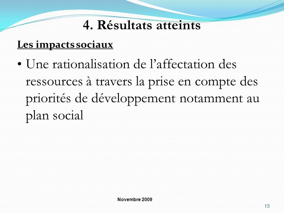 4. Résultats atteints Les impacts sociaux.