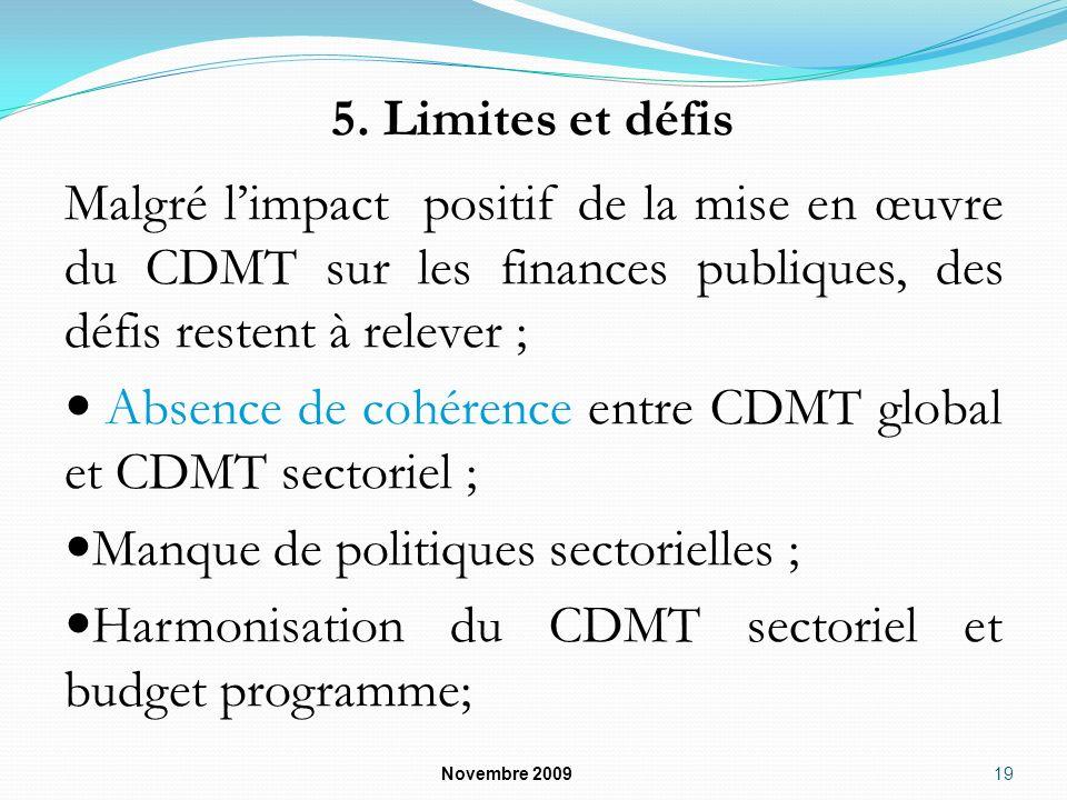 Absence de cohérence entre CDMT global et CDMT sectoriel ;