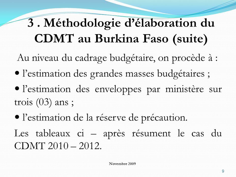 3 . Méthodologie d'élaboration du CDMT au Burkina Faso (suite)