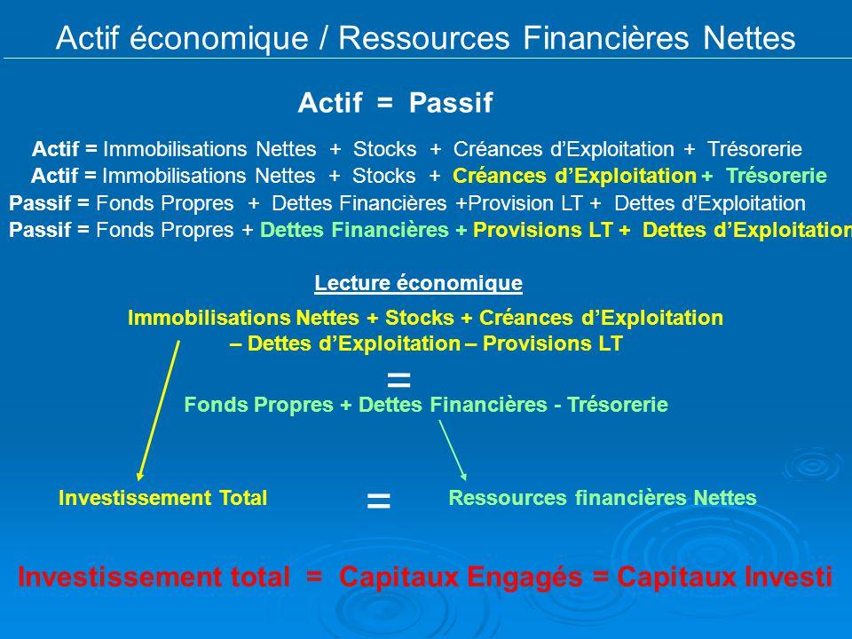 Actif économique / Ressources Financières Nettes
