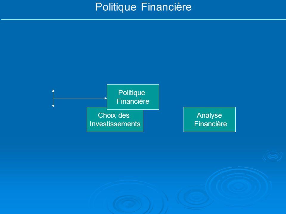 Politique Financière Politique Financière Choix des Investissements