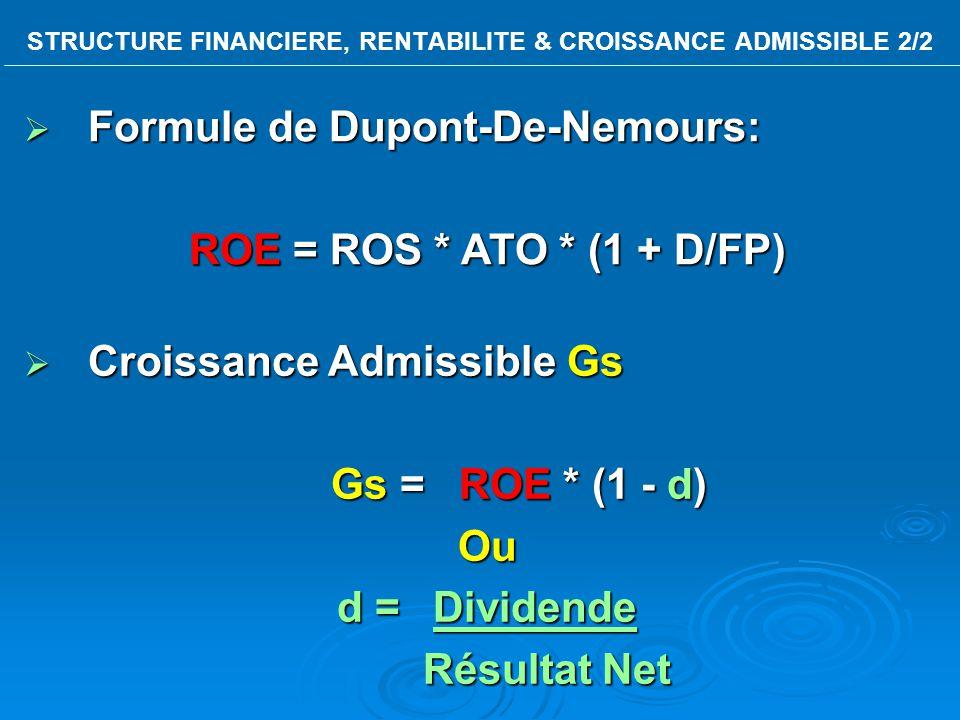 STRUCTURE FINANCIERE, RENTABILITE & CROISSANCE ADMISSIBLE 2/2