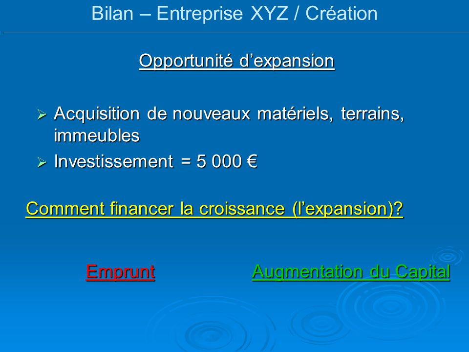 Bilan – Entreprise XYZ / Création