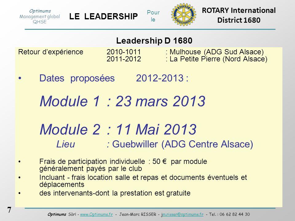 Module 1 : 23 mars 2013 Module 2 : 11 Mai 2013
