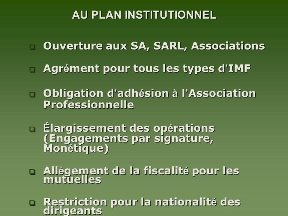 AU PLAN INSTITUTIONNEL
