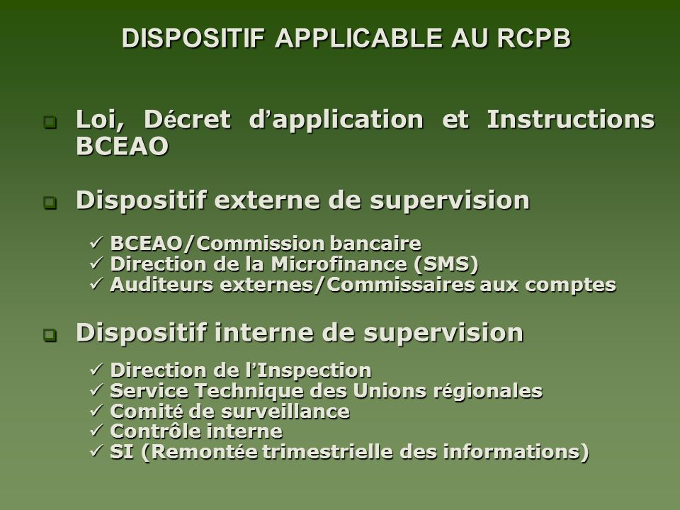 DISPOSITIF APPLICABLE AU RCPB