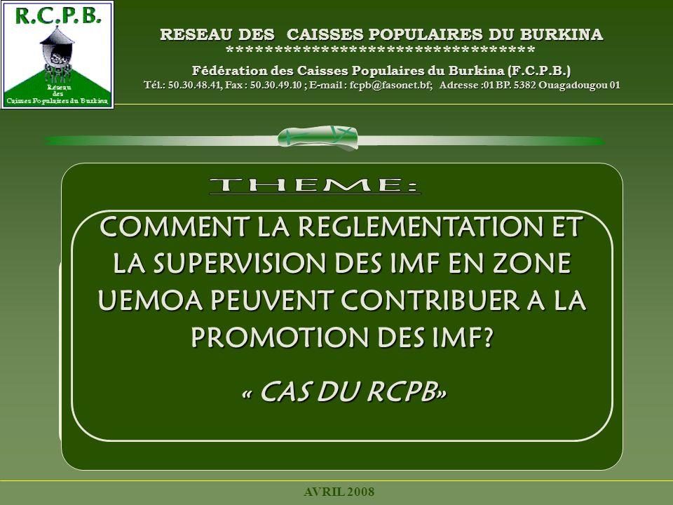 RESEAU DES CAISSES POPULAIRES DU BURKINA
