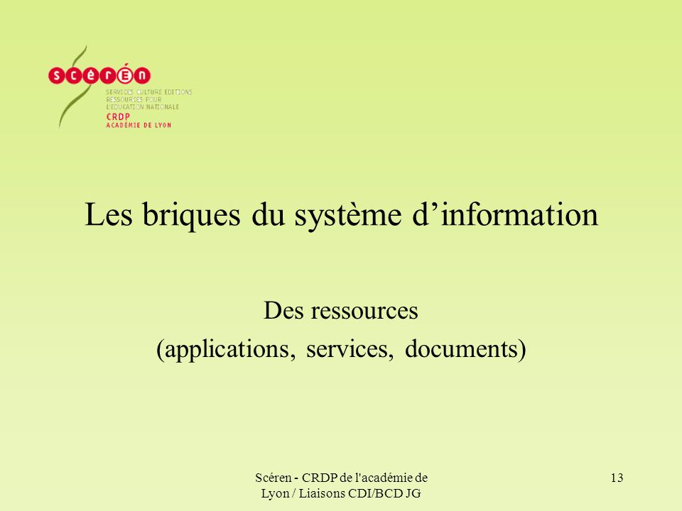Les briques du système d'information