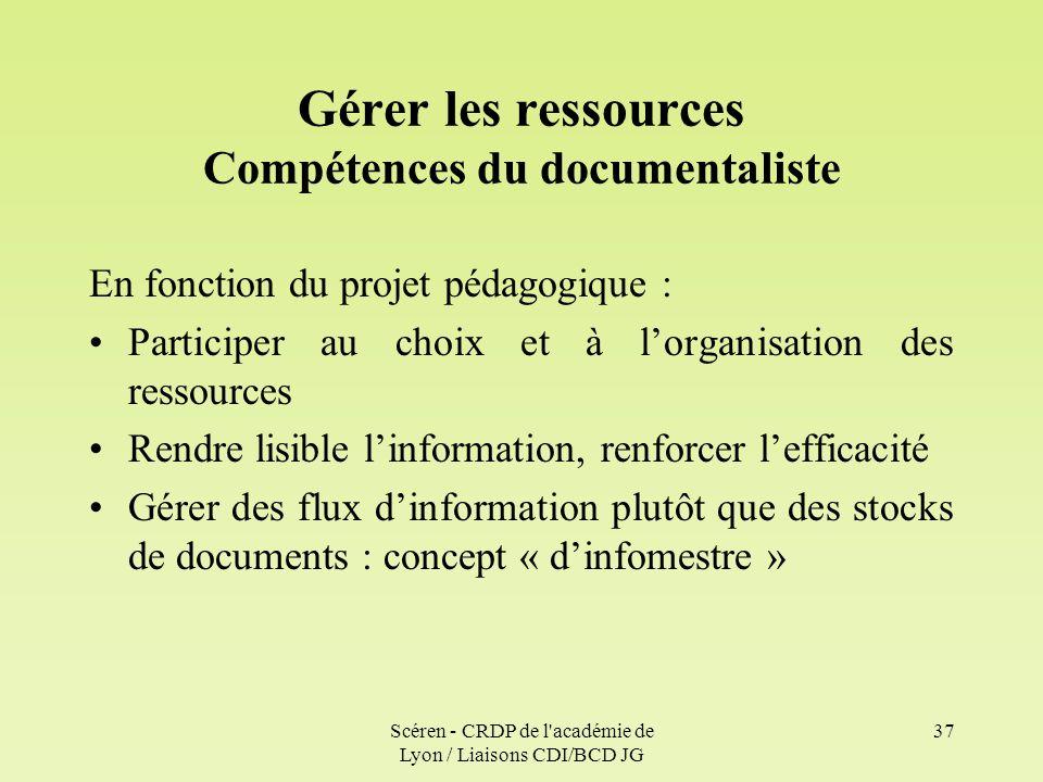 Gérer les ressources Compétences du documentaliste