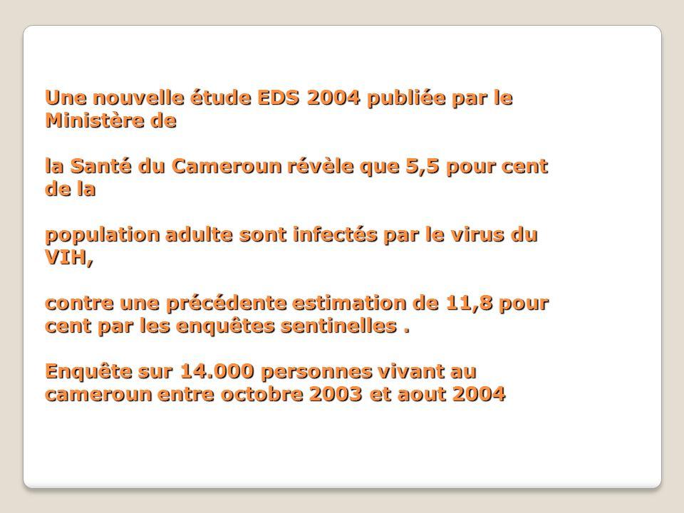 Une nouvelle étude EDS 2004 publiée par le Ministère de la Santé du Cameroun révèle que 5,5 pour cent de la population adulte sont infectés par le virus du VIH, contre une précédente estimation de 11,8 pour cent par les enquêtes sentinelles .
