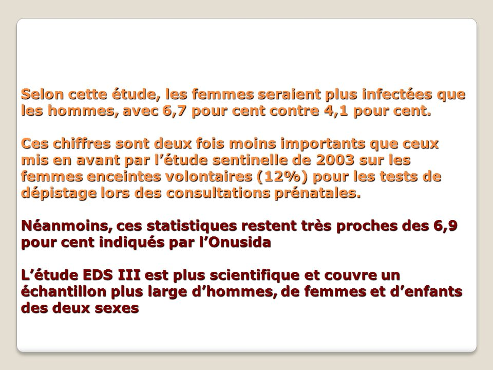 Selon cette étude, les femmes seraient plus infectées que les hommes, avec 6,7 pour cent contre 4,1 pour cent.