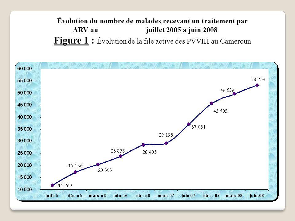 Figure 1 : Évolution de la file active des PVVIH au Cameroun