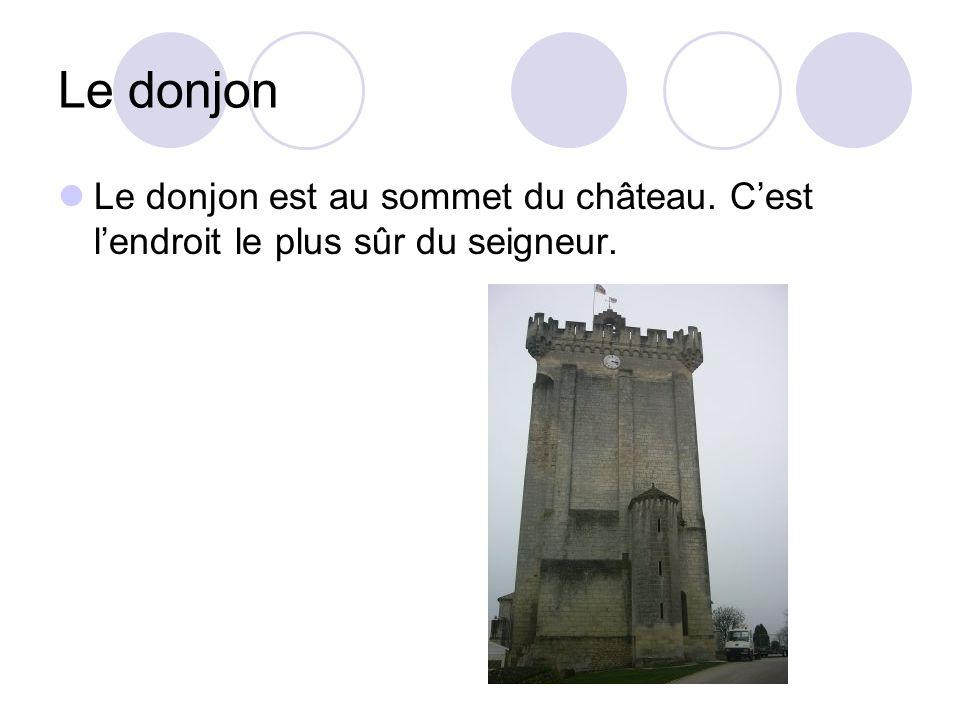 Le donjon Le donjon est au sommet du château. C'est l'endroit le plus sûr du seigneur.