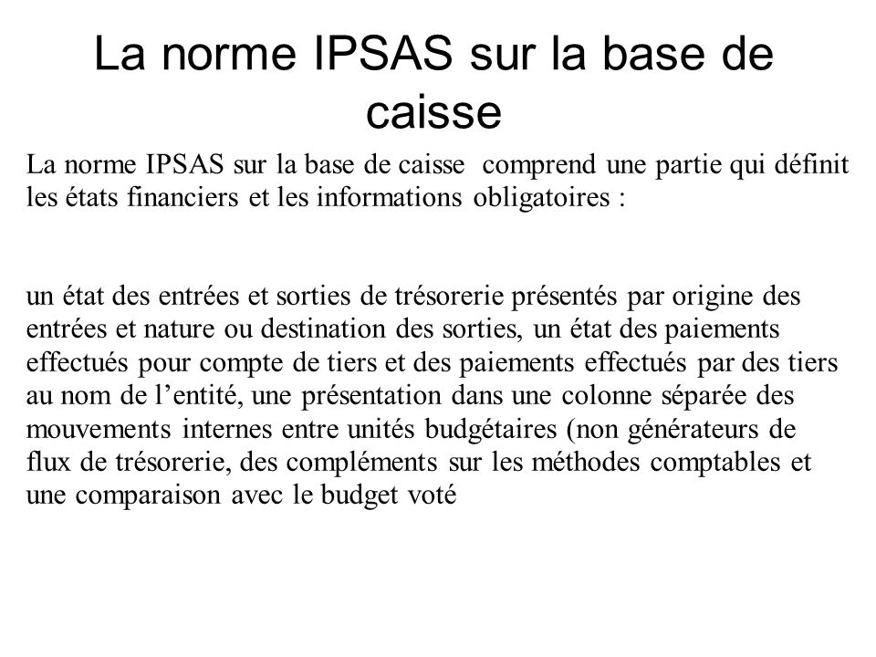 La norme IPSAS sur la base de caisse