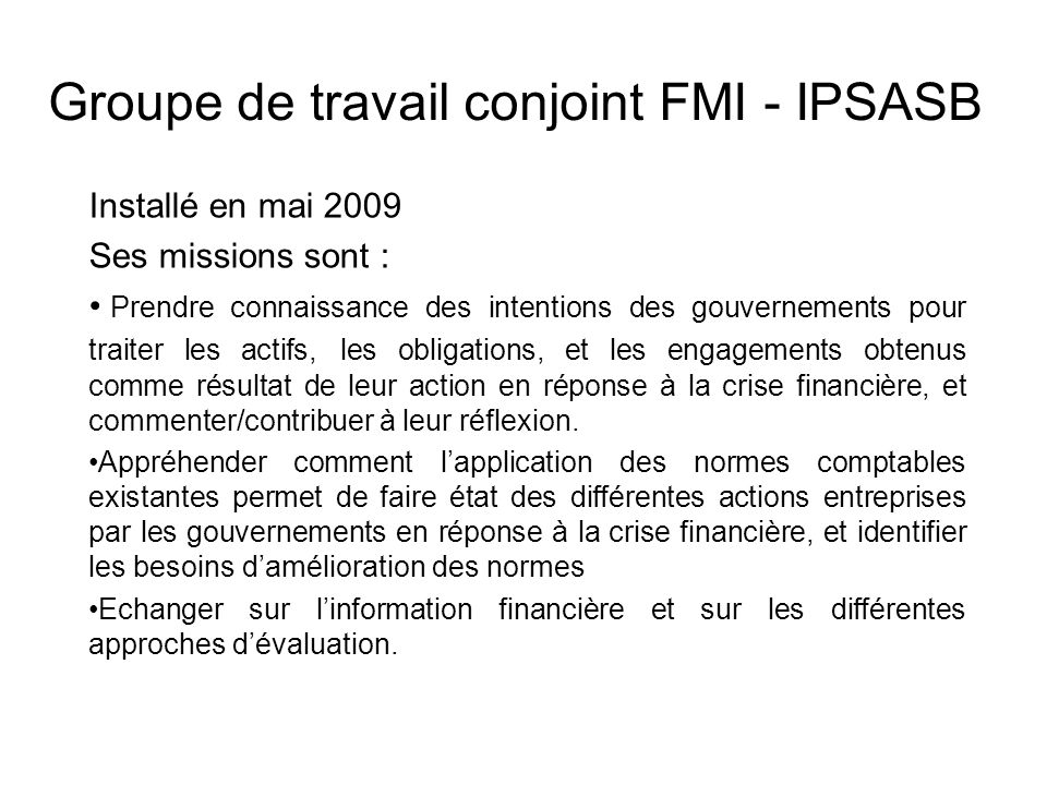 Groupe de travail conjoint FMI - IPSASB