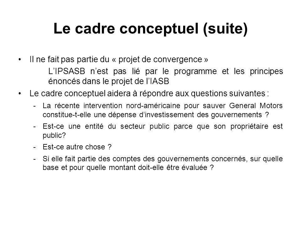 Le cadre conceptuel (suite)