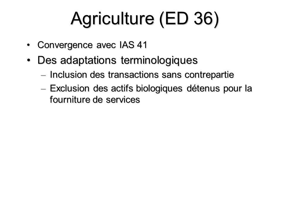 Agriculture (ED 36) Des adaptations terminologiques