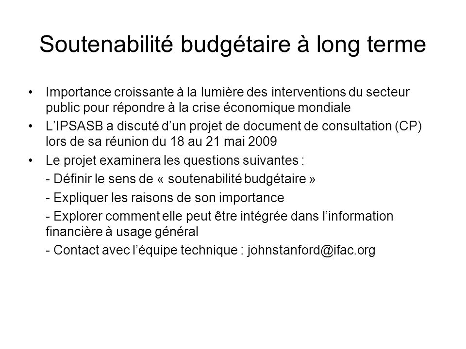 Soutenabilité budgétaire à long terme